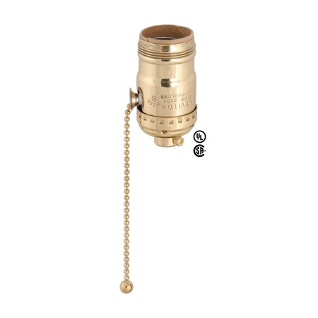 Polished Brass Pull Chain - B&P Solid Brass Shell No Uno Thread, Pull Chain Socket For 3-Way Bulbs