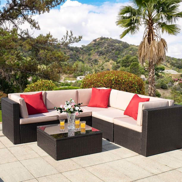 Walnew 6 Pieces Outdoor Furniture Patio Sectional Sofa Sets All Weather PE Rattan Manual Wicker Conversation Set with Washable Cushions and Glass Table (Brown)