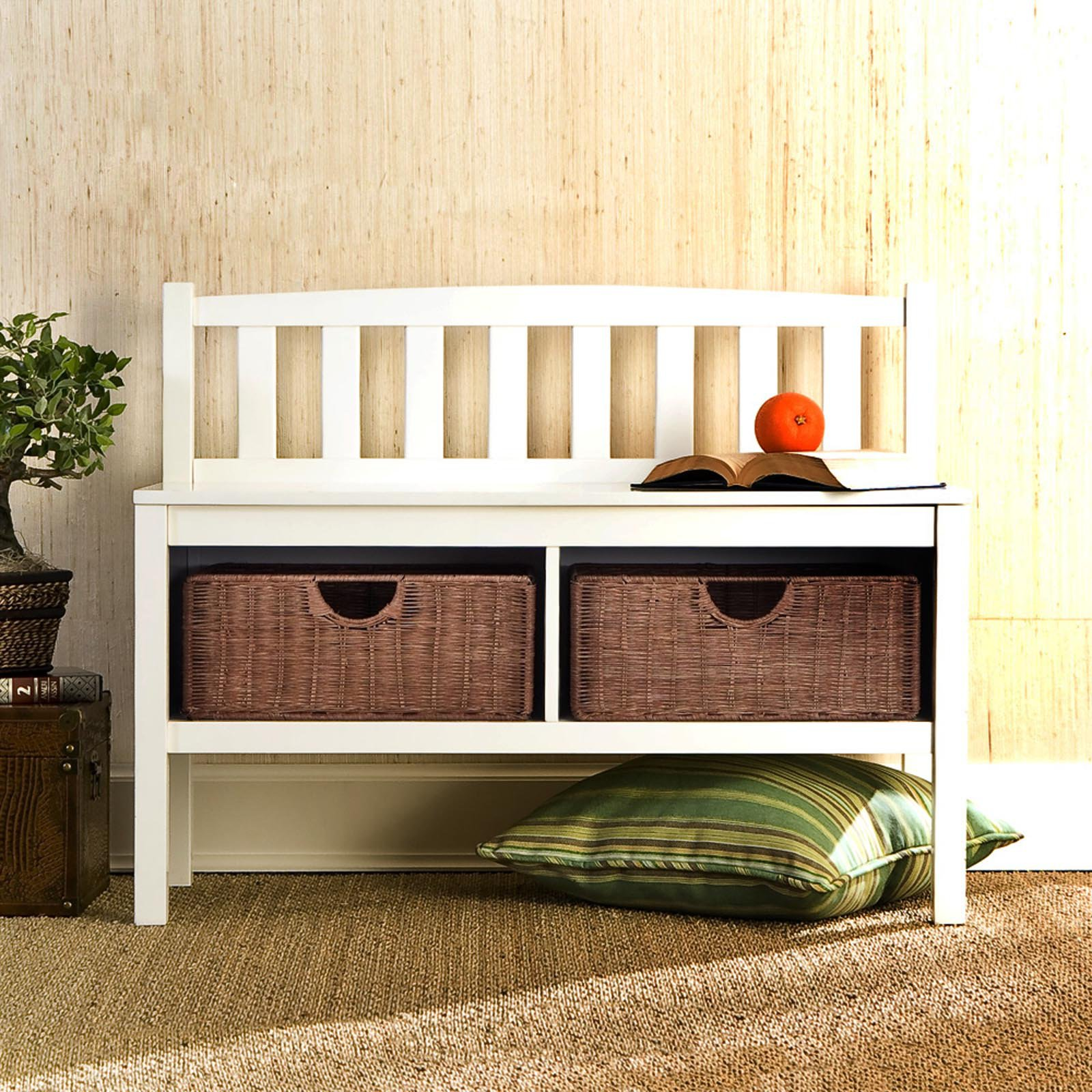 Southern Enterprises White Bench with Basket Storage