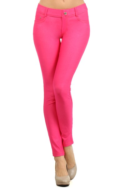 Women's Classic Solid Cotton Blend Jeggings Soft Skinny Stretch Pants Multi Colors & Sizes