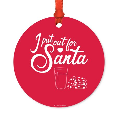 Funny Round Metal Christmas Ornament, I Put Out for Santa, Cookies and Milk Glass Graphic, Includes Ribbon and Gift Bag