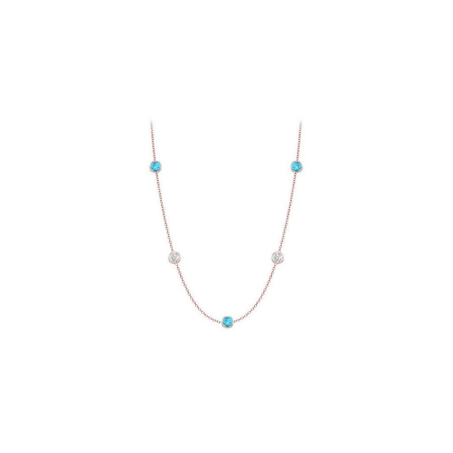 LoveBrightJewelry Necklace By The Yard Blue Topaz with Cubic Zirconia Ten Carat TGW in 14K Rose Gold 36 Inch Long by Love Bright