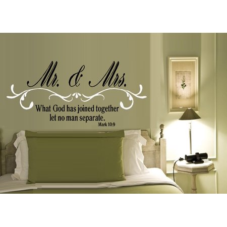 Decal ~ Mr. and Mrs. What God has joined together: Mark 10:9 ~ WALL DECAL, HOME DECOR 19