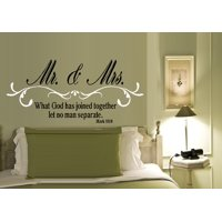 """Decal ~ Mr. and Mrs. What God has joined together: Mark 10:9 ~ WALL DECAL, HOME DECOR 19"""" x 40"""""""