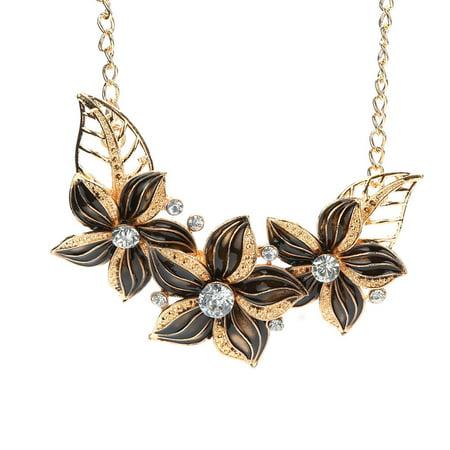 Women Gold Plated Crystal Enamel Flower Pendant Necklace Earrings Jewelry Set