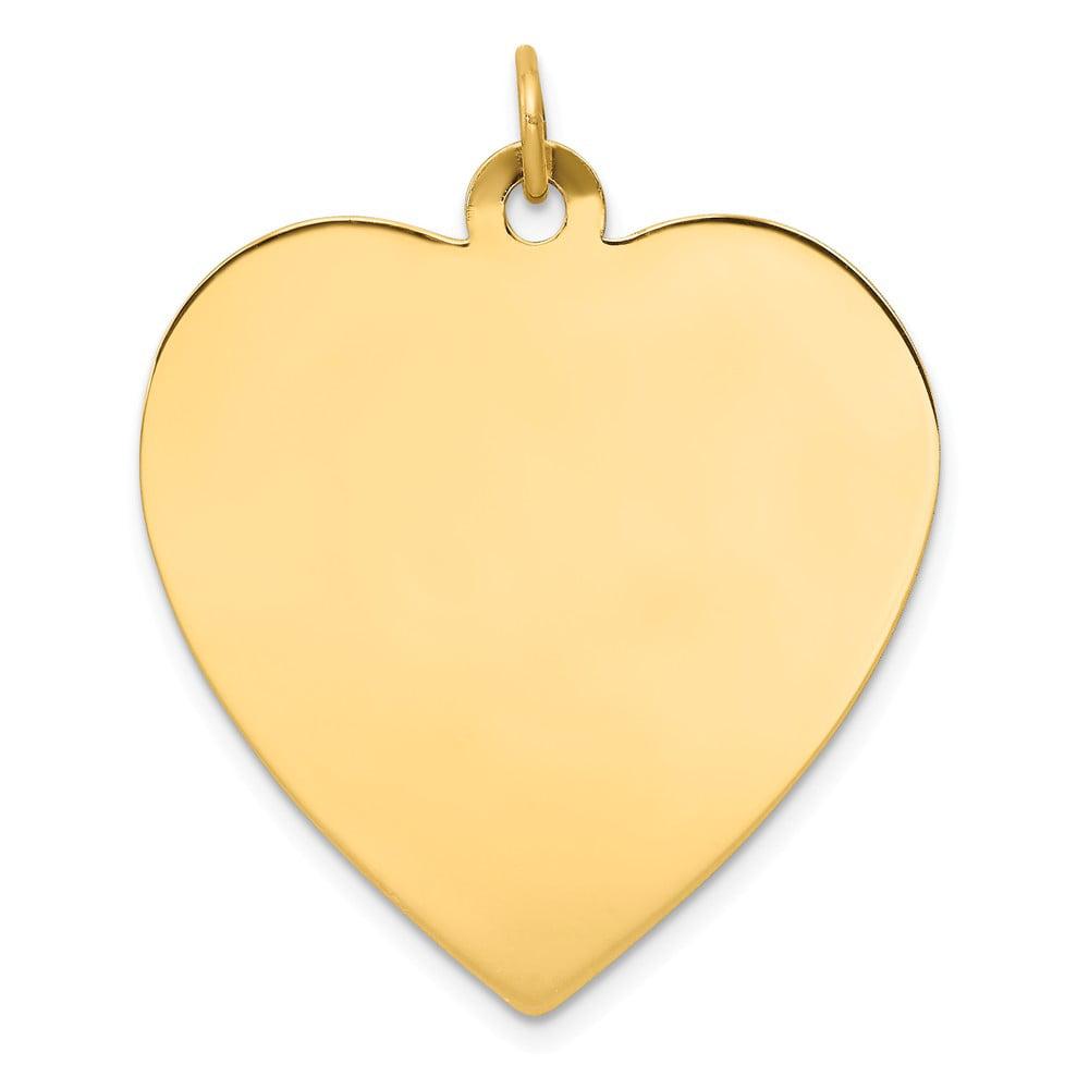 14k Yellow Gold Plain 0.018 Gauge Engravable Heart Disc Charm (1.4in long x 1.1in wide)