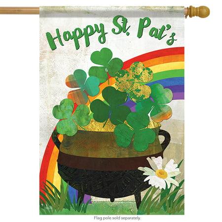 Flags Of Ireland (Pot of Gold St. Patrick's Day House Flag Clover Irish Shamrock  28