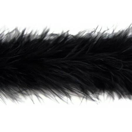 2 Yards - Black Marabou Feather Boa 25G (Black Boa Feathers)