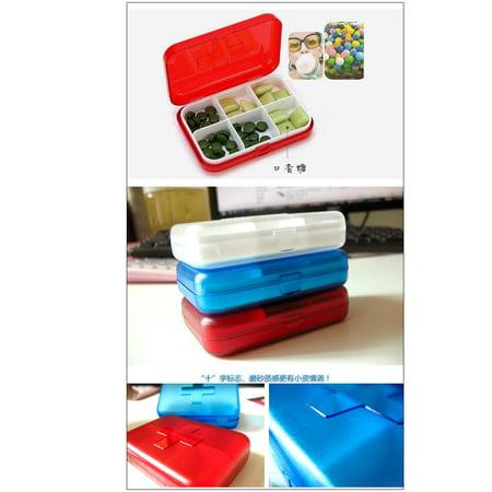 Vitamin Medicine Pill Tablet 6 Compartments Organizer Box Case Container Fuchsia - image 4 of 5