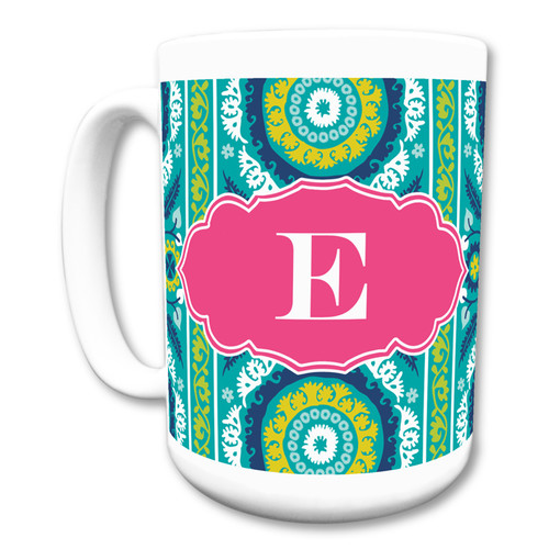 Whitney English Suzani Single Initial Mug