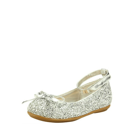 The Doll Maker Metallic Glitter Strap Flat (Girl's Silver Glitter Shoes)