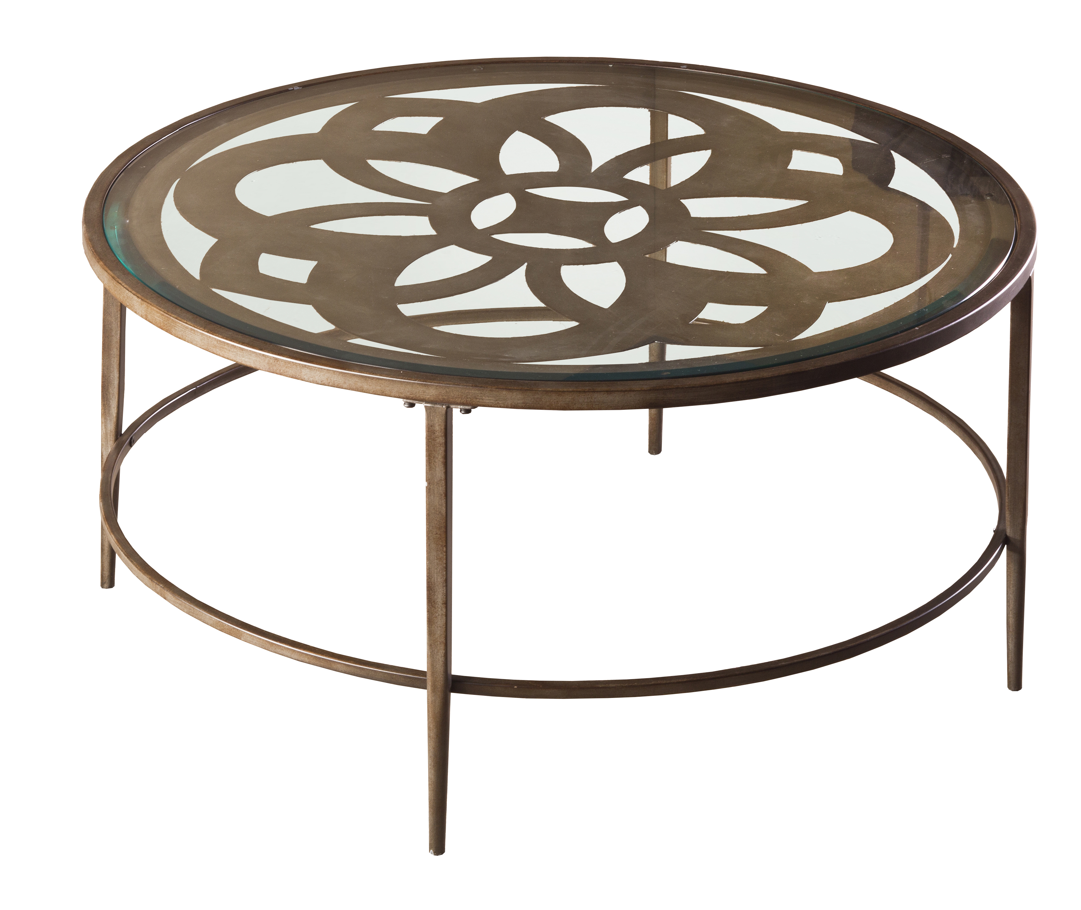 Hillsdale Furniture Marsala Metal And Glass Coffee Table, Brown