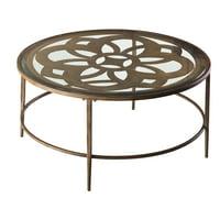 Hillsdale Furniture Marsala Metal and Glass Coffee Table, Brown