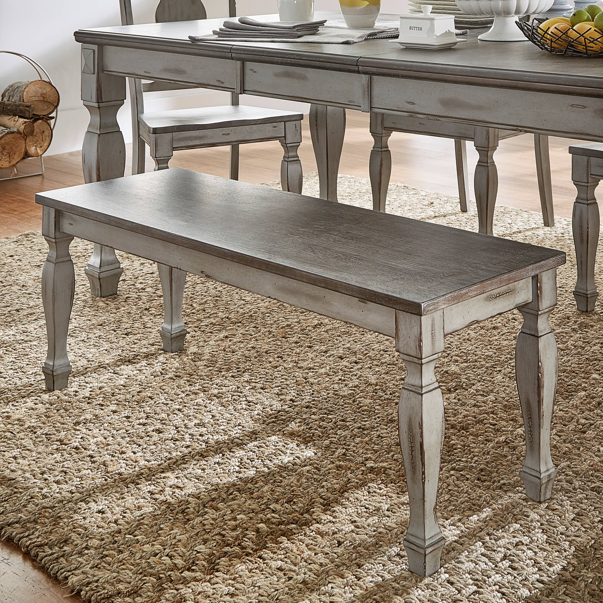 Fine Weston Home Two Tone Dining Bench Coffee And Antique Grey Bench Walmart Com Customarchery Wood Chair Design Ideas Customarcherynet
