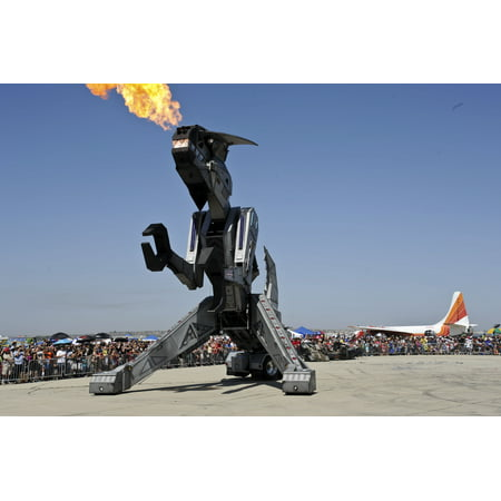 Canvas Print Robosaurus blows fire over the crowd during Thunder Over The Empire Airfest at March Air Reserve B Stretched Canvas 10 x 14 (Air Thunder Sled)