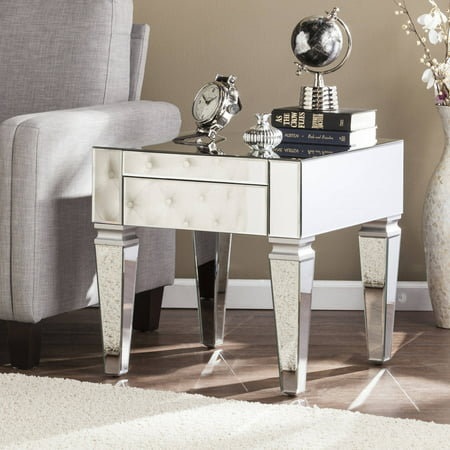 Southern Enterprises Dustox Contemporary Mirrored Square End Table, Mirrored with Matte Silver Trim