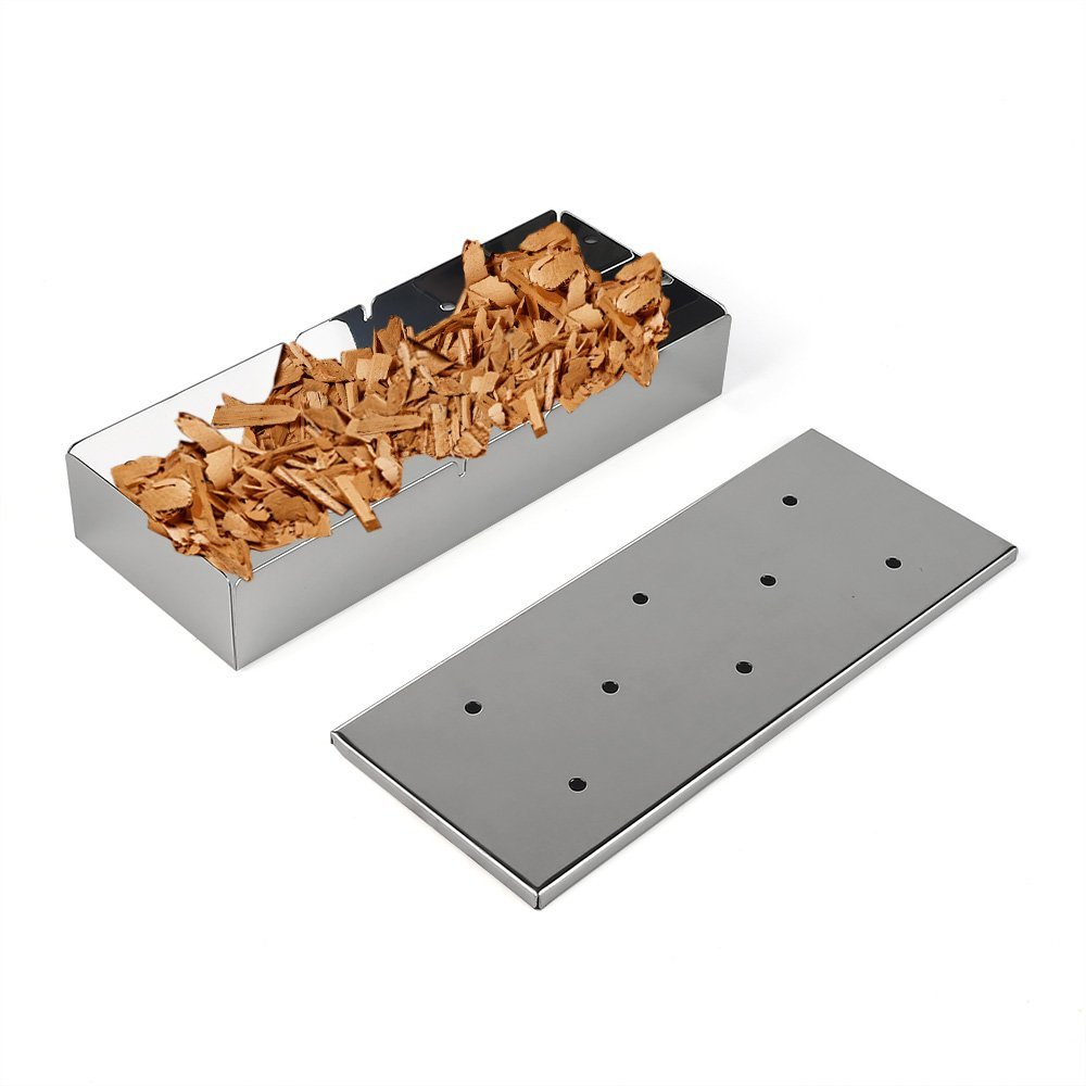 Arctic Monsoon Smoker Box, Stainless Steel Grill Accessories with Lid, Best Grilling Utensils with Wood Chips, Silver