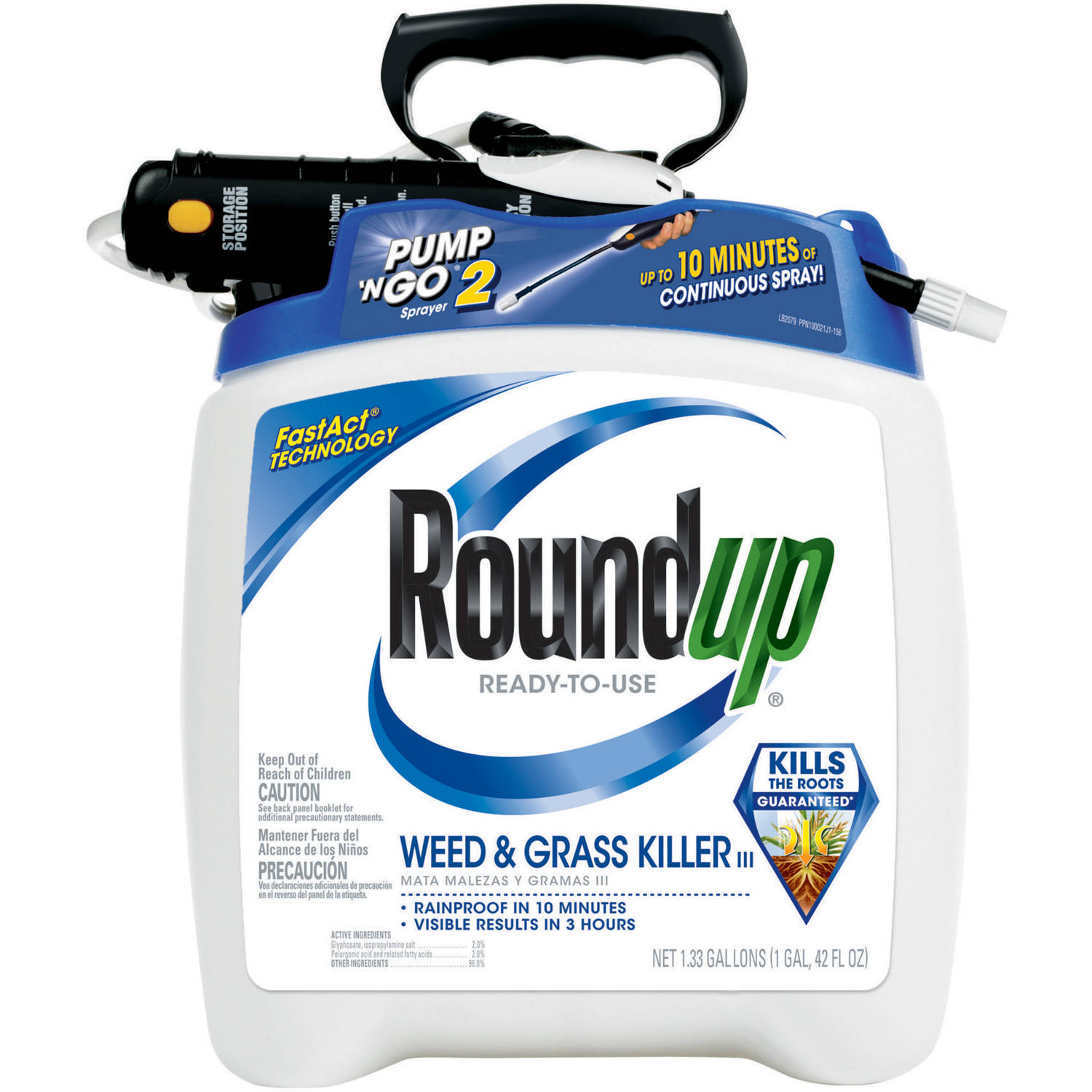 Roundup Ready-To-Use Weed & Grass Killer III Plus Pump 'N Go2 Sprayer. 1.33 gal
