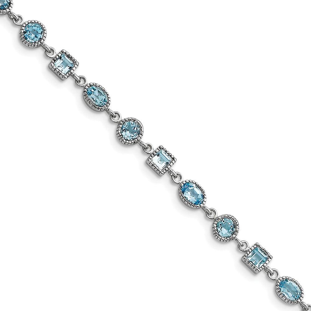 Sterling Silver Blue Topaz Bracelet 7 Inch Lobster Claw by Jewelryweb