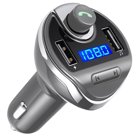 New Update Bluetooth FM Transmitter, Wireless in-Car FM Transmitter Radio Adapter Car Kit