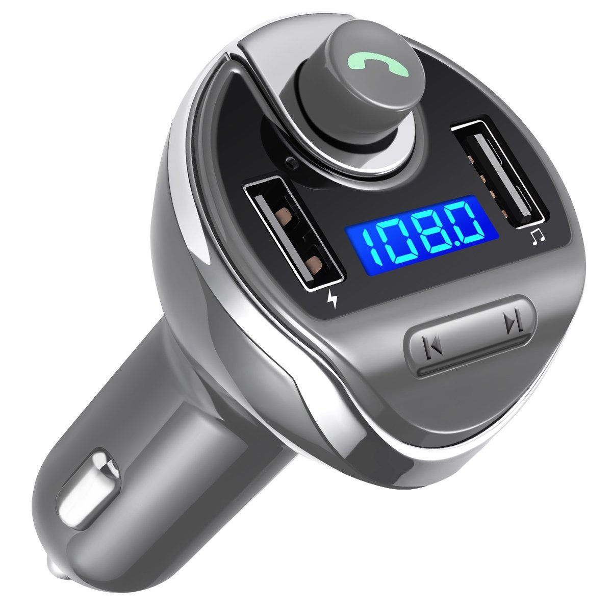 New Update Bluetooth FM Transmitter, Wireless in-Car FM Transmitter Radio Adapter Car Kit, Universal Car Charger with Dual USB Charging Ports, Hands Free Calling for All Smartphones.(Grey)