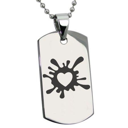 Stainless Steel Heart Love Splatter Engraved Dog Tag Pendant (Engraving For Men)