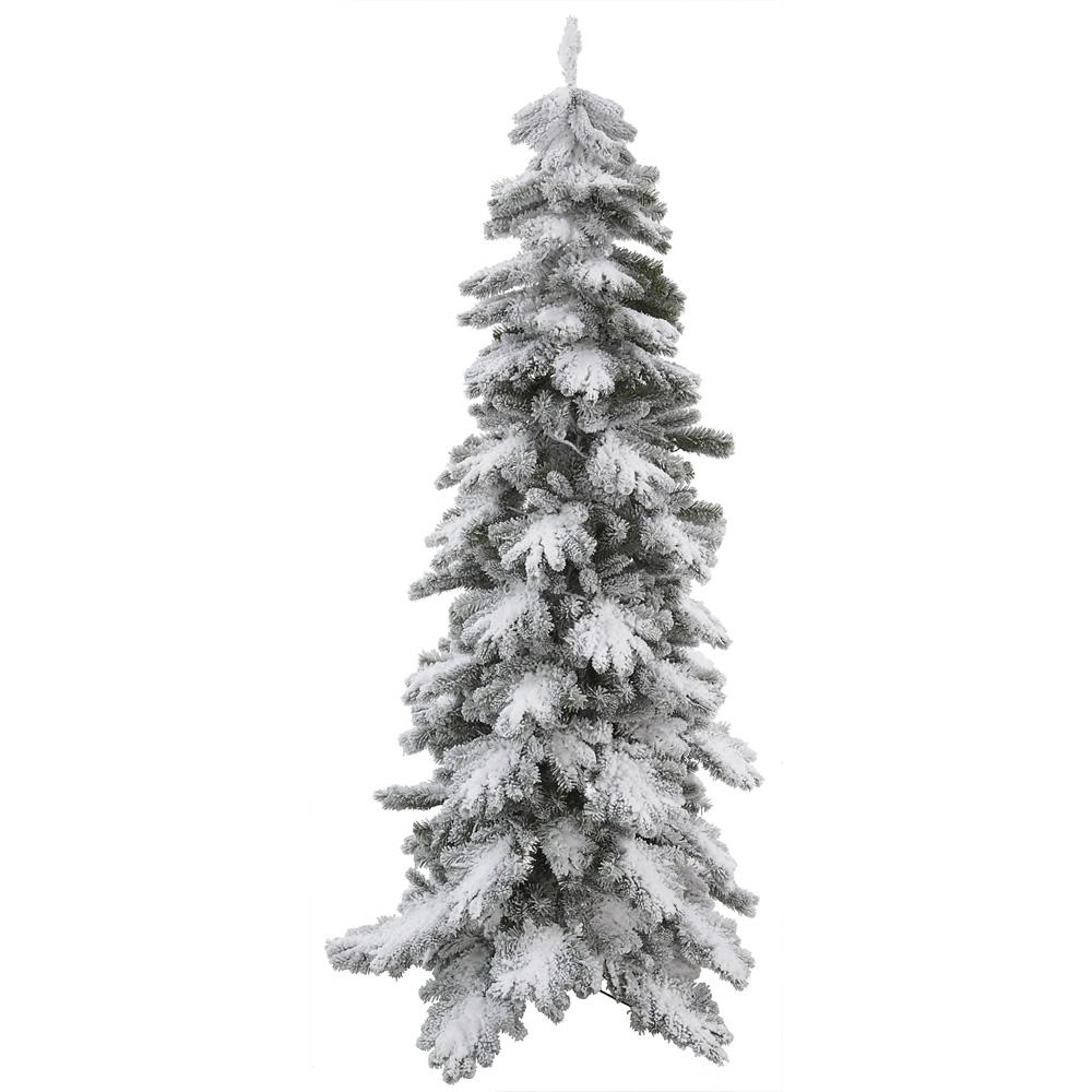 8'  Flocked Vail Pine Artificial Christmas Tree - Unlit