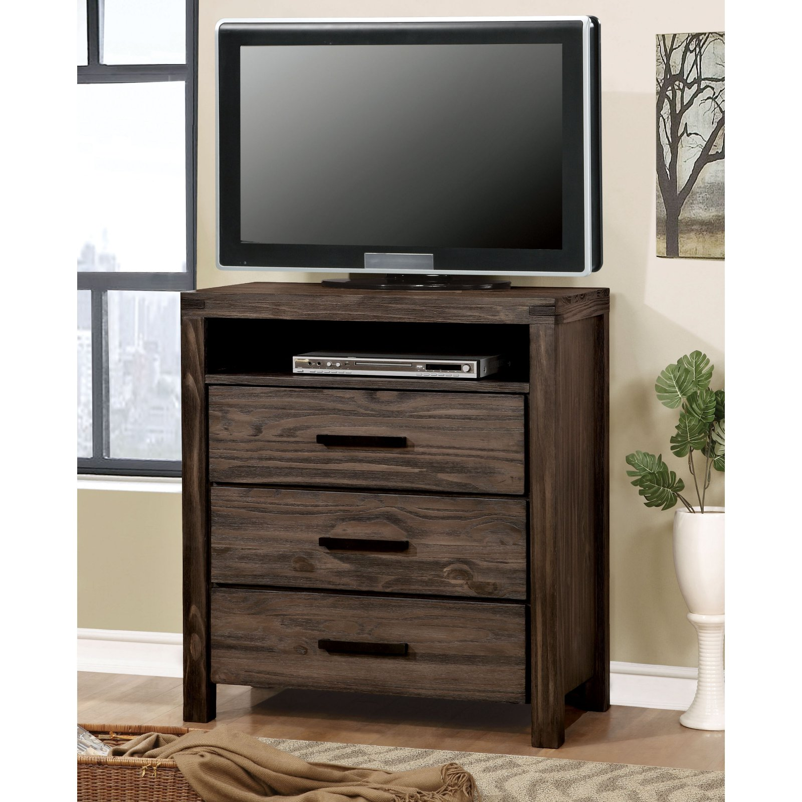 Furniture of America Wiley Rustic 3 Drawer Media Chest
