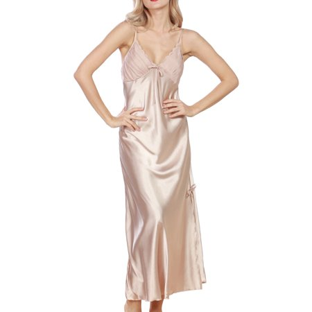 Women Summer Sexy Satin Lace Long Nightgown Slip Lingerie Chemise Robe Color Champagne Size XXXL