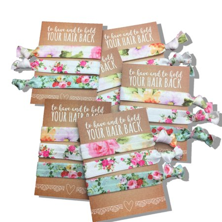 Jeune Marie 6 Pack Floral Ribbon Hair Ties KIT No Crease Elastics Handtied Ouchless Ponytail Holders Hair Band Bracelet Favors for Bachelorette Parties, Bridal Showers, and More! (6 Pack, -