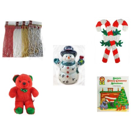 - Christmas Fun Gift Bundle [5 Piece] - Brite Star Assorted Bead Garland 18' Ft. Ea. - Vintage 1960's Kage Co. Melted Popcorn Candy Cane - Westland Giftware XOX Love Snowman Figurine 6