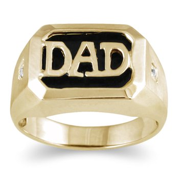 Onyx & Diamond Dad Ring 10k Yellow Gold