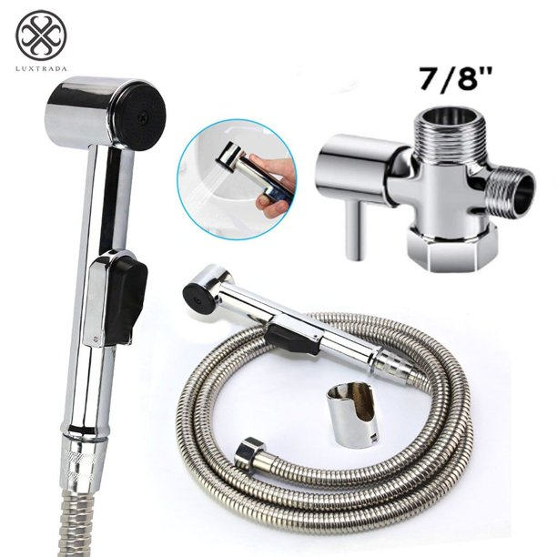Luxtrada Toilet Bathroom Hand Held Handheld Diaper Sprayer Shower Bidet Spray Hose Holder With Hose With T Adapter Valve Hose Walmart Com Walmart Com