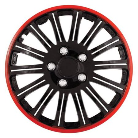 Cobra Chrome Wheel (Cobra Black Chrome With Red Accent 15 inch Wheel Cover Set (Set of 4 Covers))