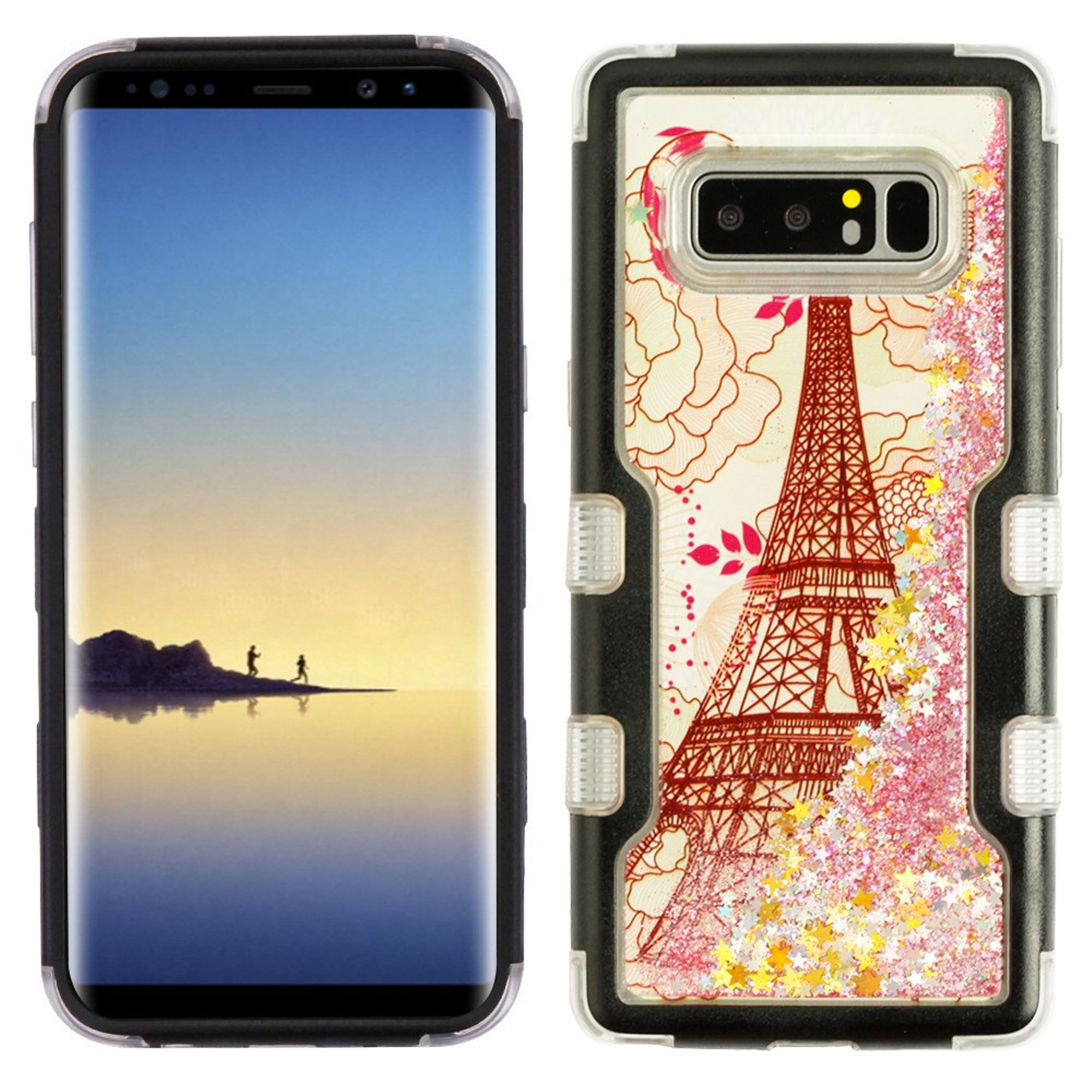 MyBat Quicksand Eiffel Tower Dual Layer [Shock Absorbing] Hybrid Hard Plastic/Soft TPU Rubber Case Cover For Samsung Galaxy Note 8, Teal