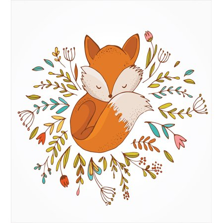 Cartoon Duvet Cover Set, Cute Baby Fox Sleeping in a Floral Made Bed Circle Art Print, Decorative Bedding Set with Pillow Shams, Dark Orange White Teal Coral, by Ambesonne ()