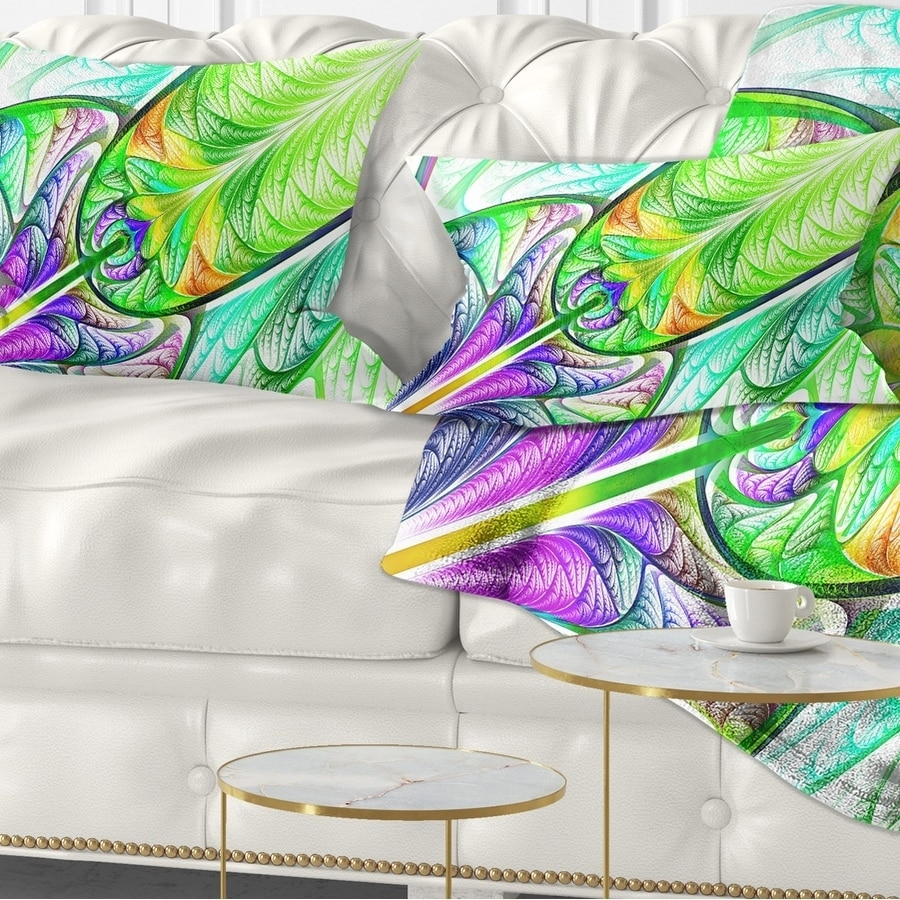 Design Art Designart Green Blue Fractal Stained Glass Abstract Throw Pillow Walmart Com Walmart Com