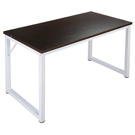 Ghp Black Walnut Steel Frame Melamine Board Wooden Computer Desk Table Workstation