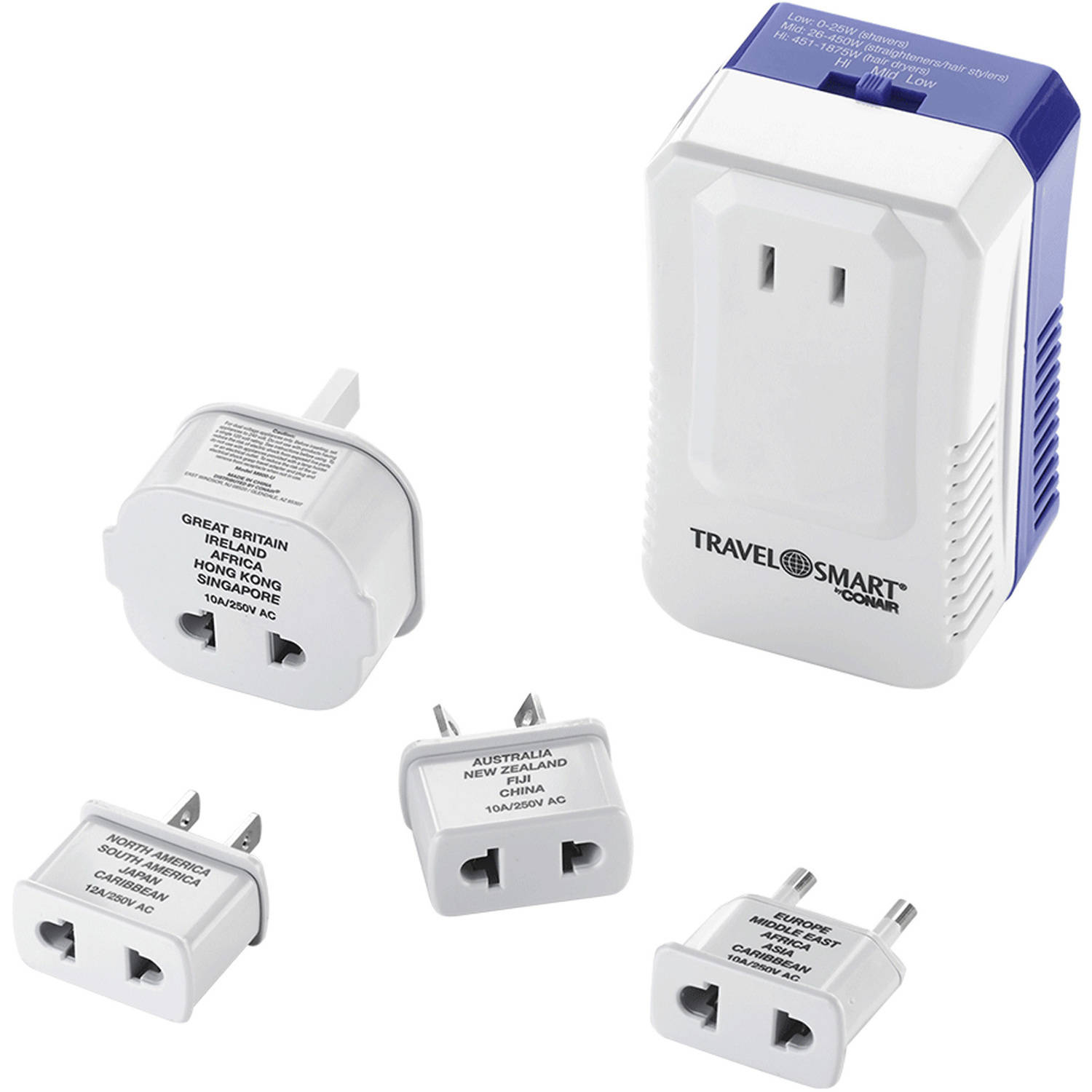 Travel Smart White Type A For Worldwide Wattage Converter