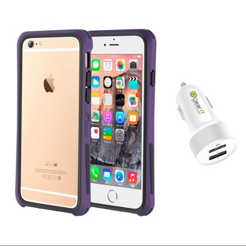 iPhone 6 Case Bundle (Case + Charger), roocase iPhone 6 4.7 Linear Bumper Open Back with Corner Edge Protection Case Cover with White 4.4A Car Charger for Apple iPhone 6 4.7-inch, Purple