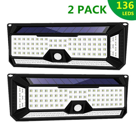 2X 4 Sides 136LED 5.5V 5 In 1 Solar Light 3 Modes Dimmable, PIR Motion Sensor Outdoor Wall Security Wireless Solar Powered Night Lamp Lighting US 800LM Waterproof IP65