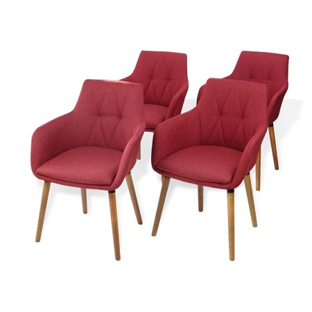 SK New Interiors Dining Kitchen Modern Alba Armchairs Set of 4 Wood legs w/Padded Seat Red color