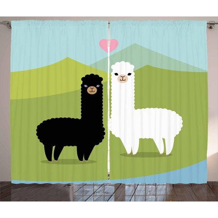 Llama Curtains 2 Panels Set, Alpacas in Love in the Mountains Argentina Fauna Animals with Contrasting Colors, Window Drapes for Living Room Bedroom, 108W X 63L Inches, Multicolor, by Ambesonne