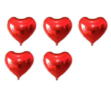 Unique Bargains 5 Pcs Foil Heart Shape Birthday Wedding Decor Red 5 Inches Balloon](Red Heart Ballons)