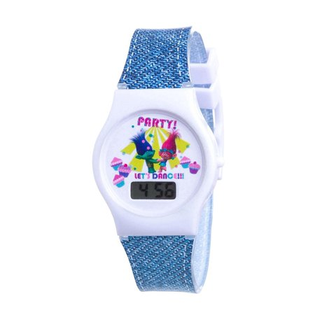 Dreamworks LCD Denim-Look Silicone Band Watch & Stickers, Officially licensed Dreamworks Troll LCD Watch