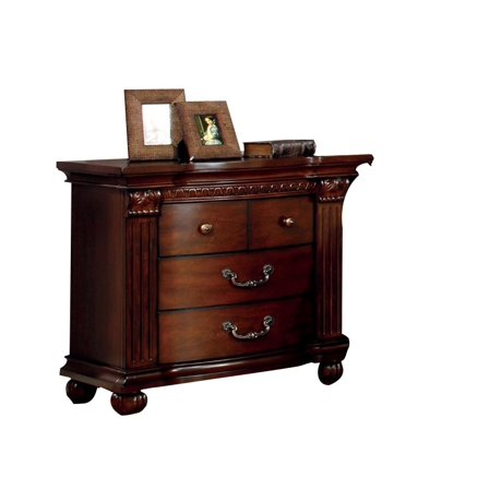 furniture of america sorella 3 drawer nightstand in cherry. Black Bedroom Furniture Sets. Home Design Ideas