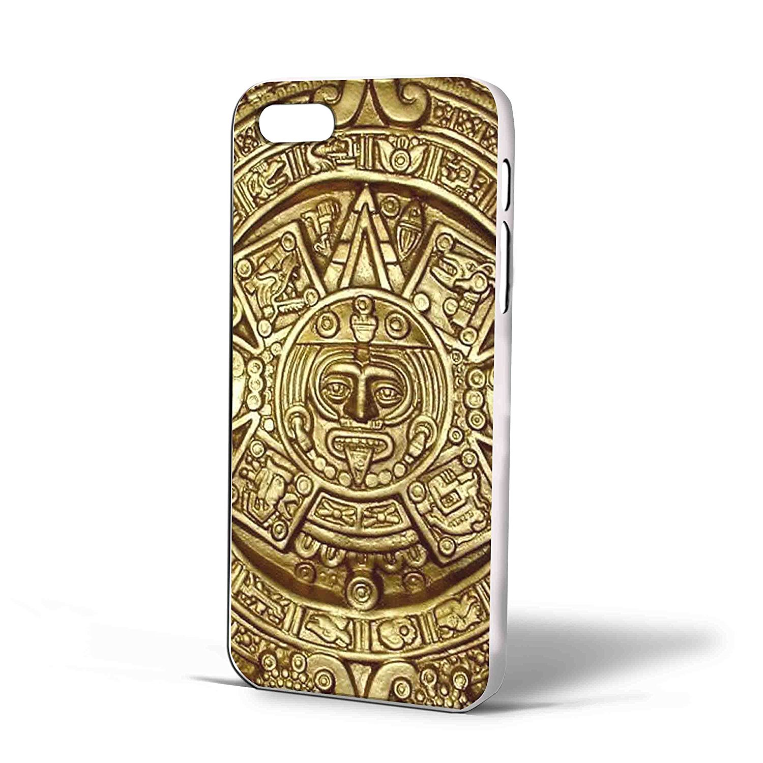 Ganma Aztec Mayan Calendar Gold Case For iPhone Case (Case For iPhone 5/5s White)