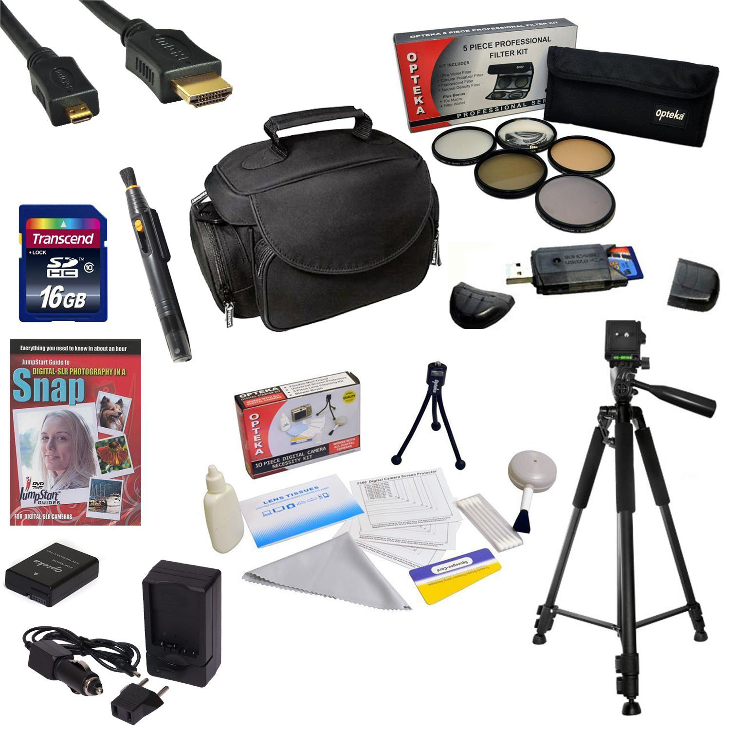 Best Value Kit for Nikon D40, D40X, D60, D3000, D5000 with 16GB SDHC Card, Extra Battery, Charger, 5 PC Filter Kit, HDMI Cable, Case, Tripod, Lens Pen, Cleaning Kit, DSLR DVD