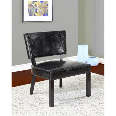 Faux Leather Crocodile Print Accent Chair, Black - Walmart.com