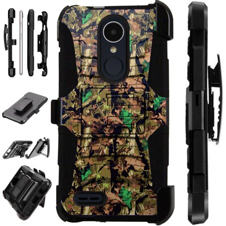 For LG Rebel 4 | LG Rebel 3 Case Armor Hybrid Silicone Cover Stand LuxGuard Holster (Camo Oak Brown) ()